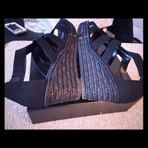 Black canvas wedge silver zippered wedges
